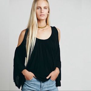 FREE PEOPLE   Chloe Cold Shoulder Black Tunic   S